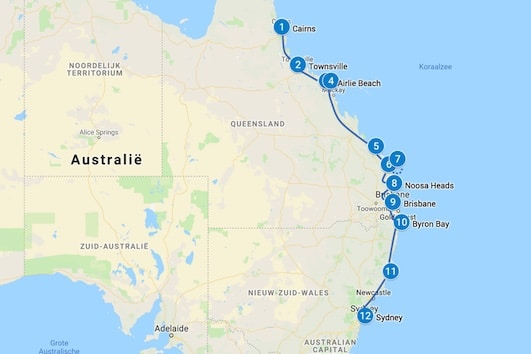 Backpacken Australie Route 4 - 5 weken
