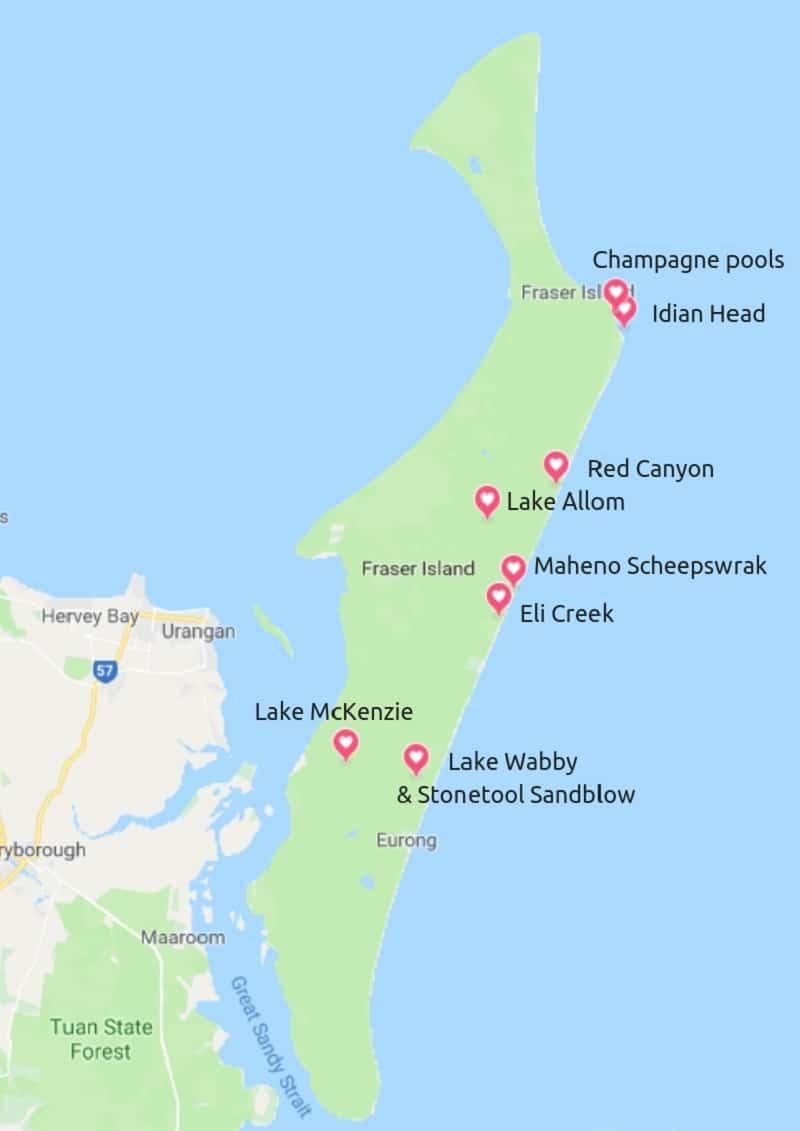 Fraser Island kaart met bezienswaardigheden