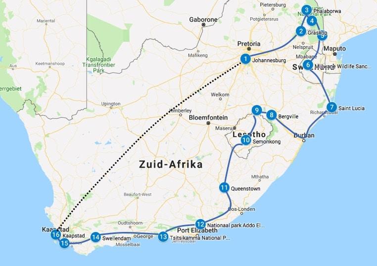 Reisroute Zuid Afrika 4 tot 5 weken