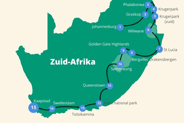 Reisroute Zuid Afrika 4 weken