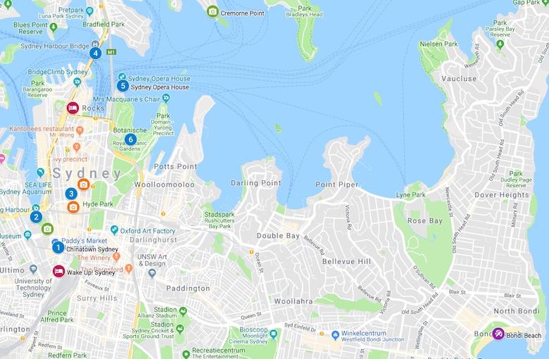 Sydney kaart bezienswaardigheden