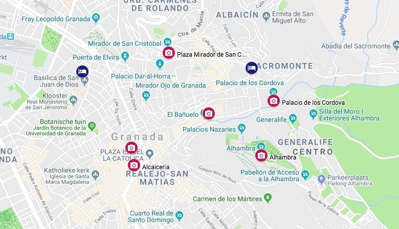 Granada bezienswaardigheden kaart
