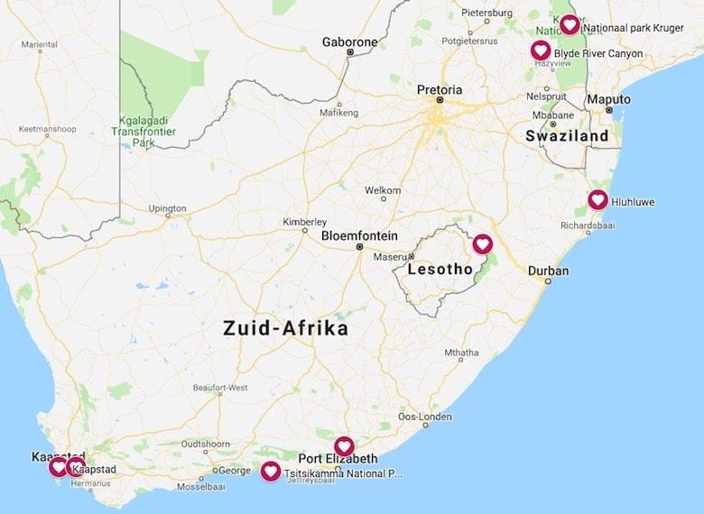 Kaart bezienswaardigheden zuid afrika