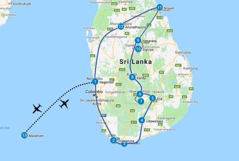 Sri lanka route met Malediven in 3 tot 4 weken