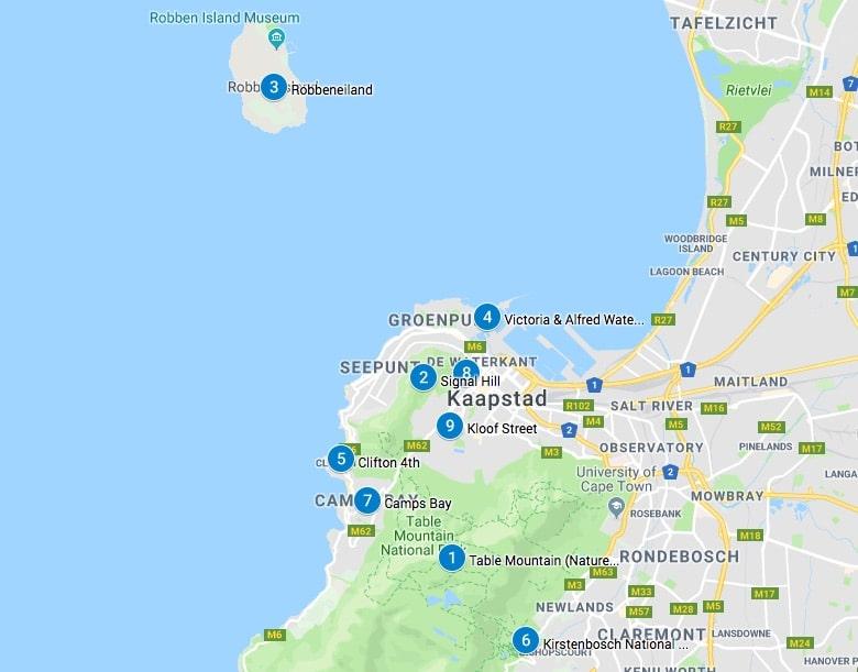 Kaapstad bezienswaardigheden kaart