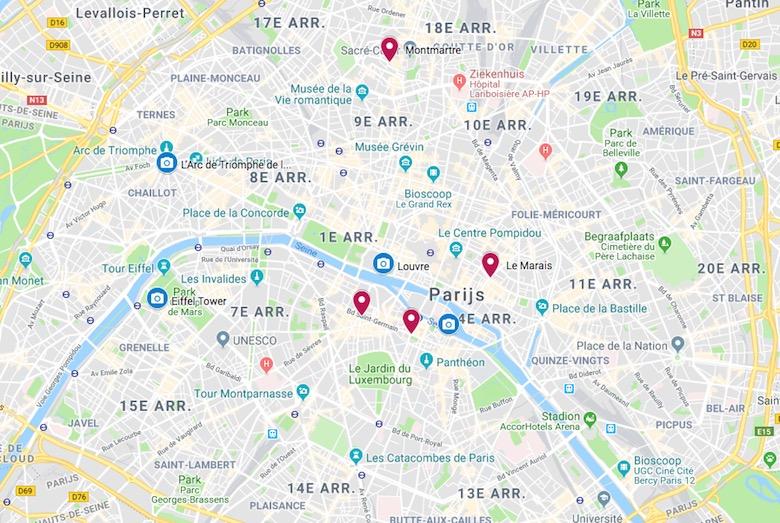 Leuke wijken overnachten Parijs kaart