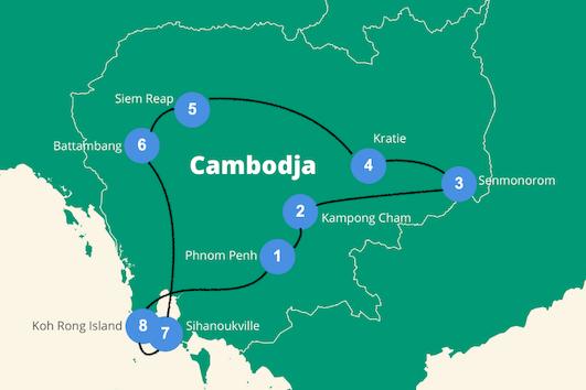 Backpack route cambodja rondreis