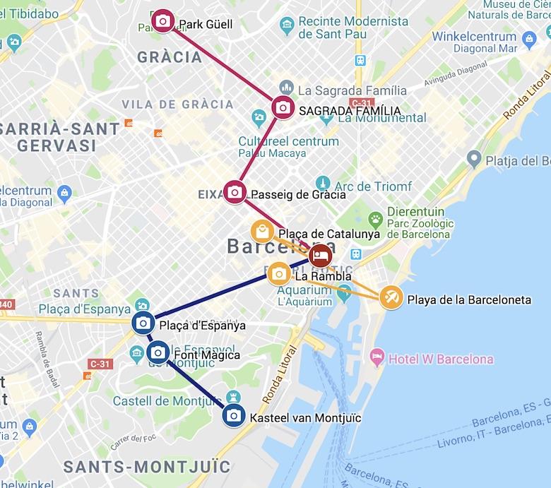 Barcelona bezienswaardigheden kaart