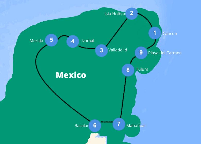 Backpacken Mexico Yucatan route