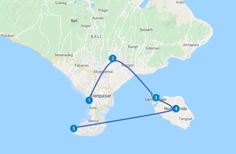 Bali route 2 tot 3 weken rondreizen