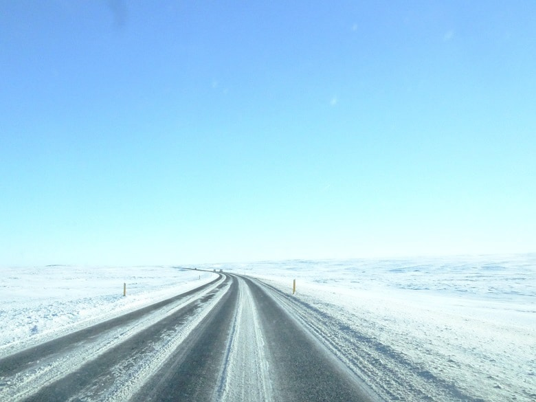 Wegen IJsland in de winter