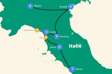 reisroute italie rome milaan