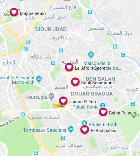 Kaartje hoogtepunten marrakech