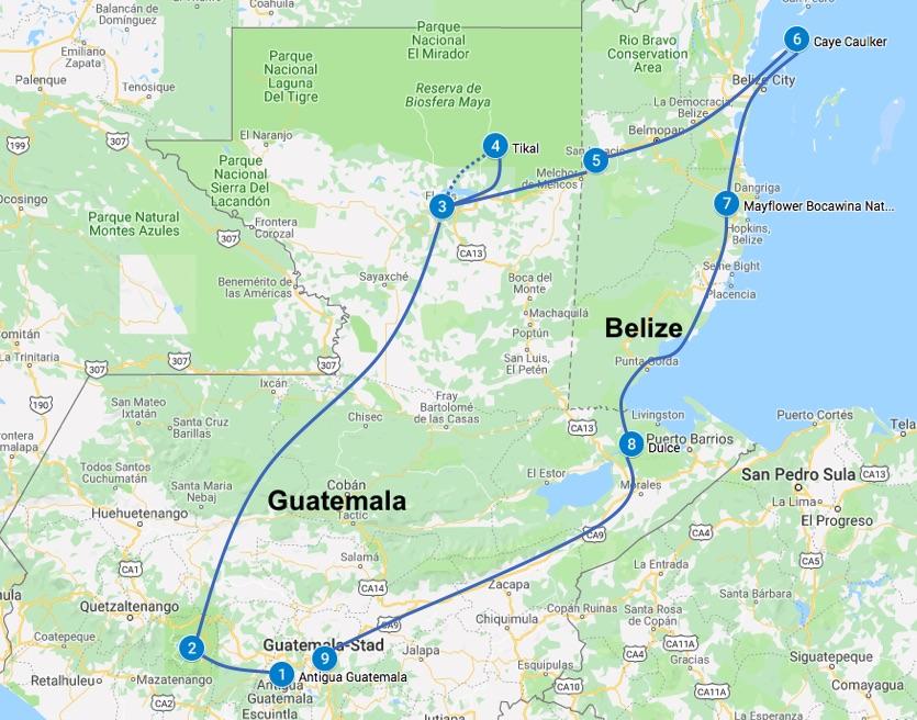 Guatemala en Belize route