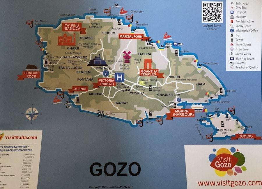 Kaart Gozo bezienswaardigheden