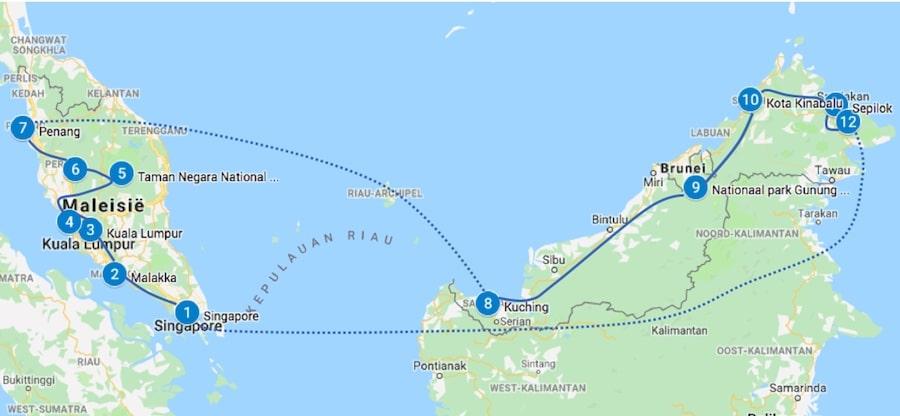 Maleisie Borneo route 3 weken