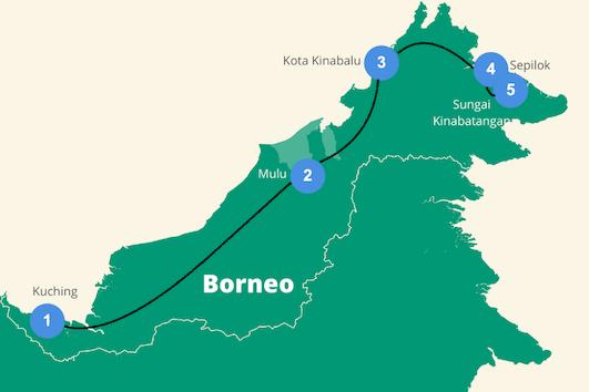 Reisroute Borneo Maleisie