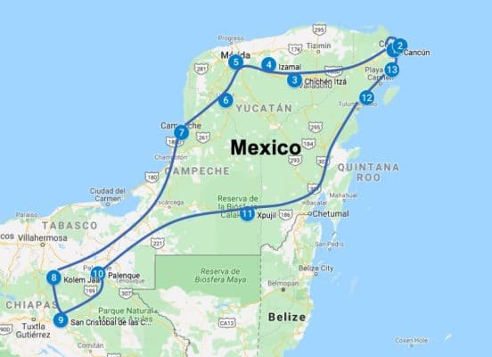 Mexico roadtrip route