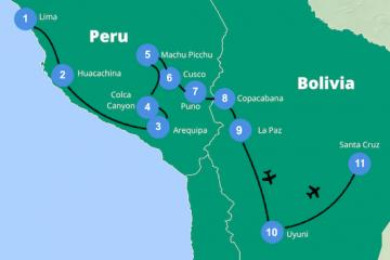 Rondreis peru bolivia route