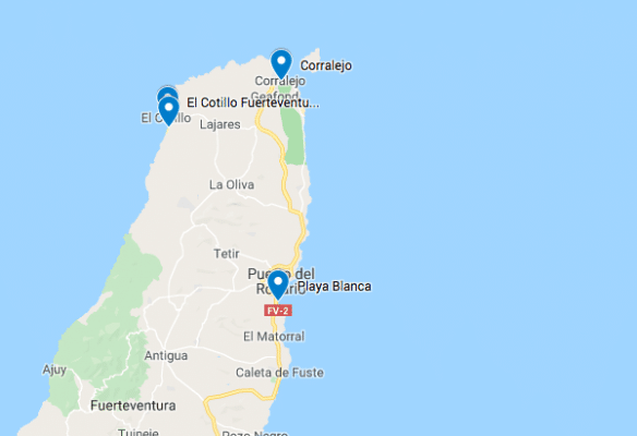 surfstranden fuerteventura kaart