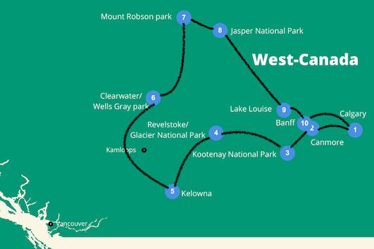 Camperreis west canada reisroute
