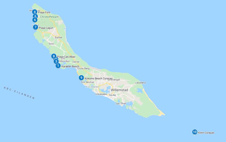 Mooiste stranden Curacao kaart