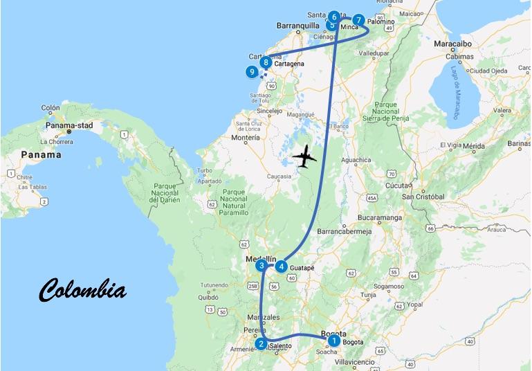Reisroute Colombia 3 weken