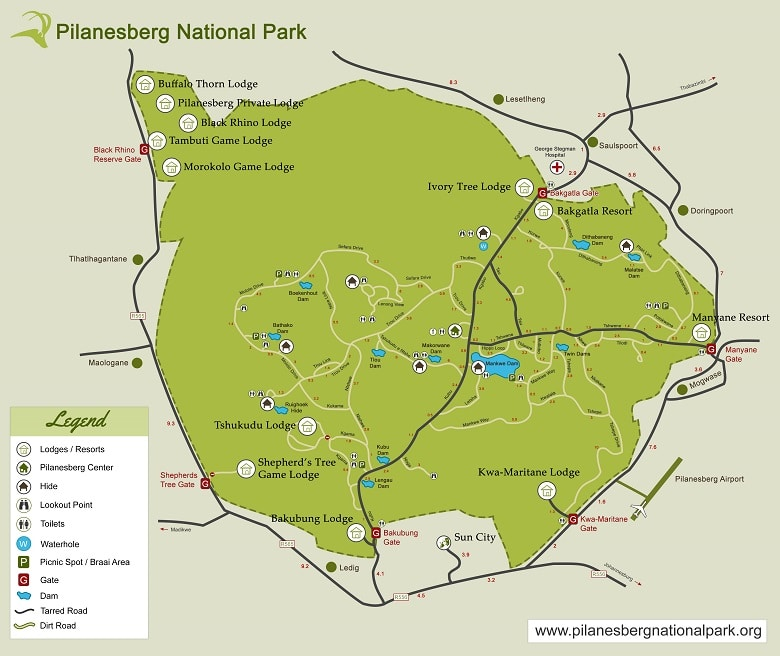 plattegrond pilanesberg