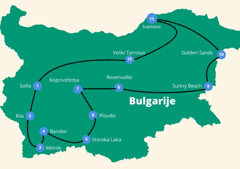 Roadtrip Bulgarije reisroute
