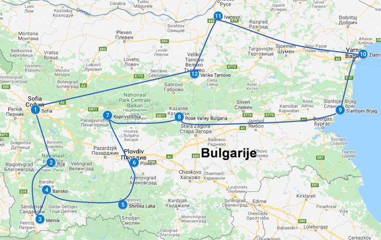 Roadtrip Bulgarije route