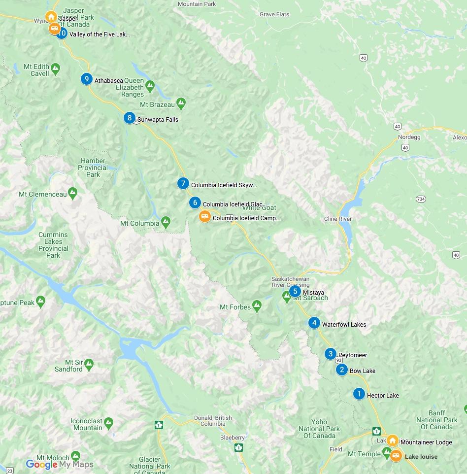 Bezienswaardigheden Icefields parkway kaart
