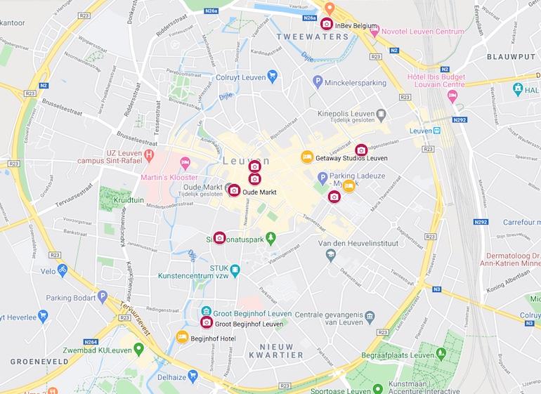 Leuven kaart bezienswaardigheden