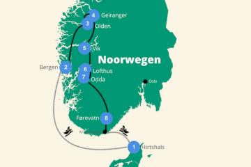 Noorwegen reisroute rondreis
