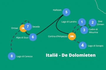 Dolomieten Italië reisroute