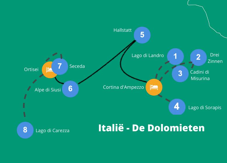 Dolomieten roadtrip route