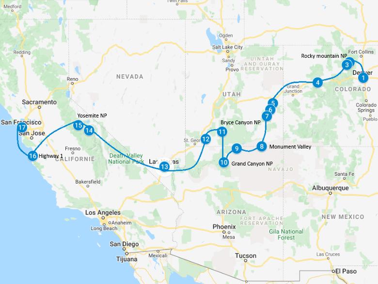 camperreis Amerika route kaart