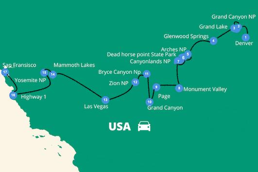 roadtrip west amerika reisroute