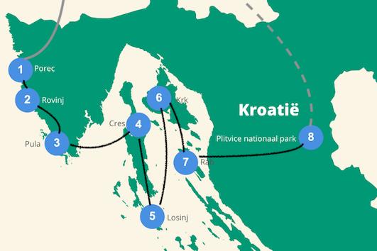 Eilandhoppen kroatie reisroute