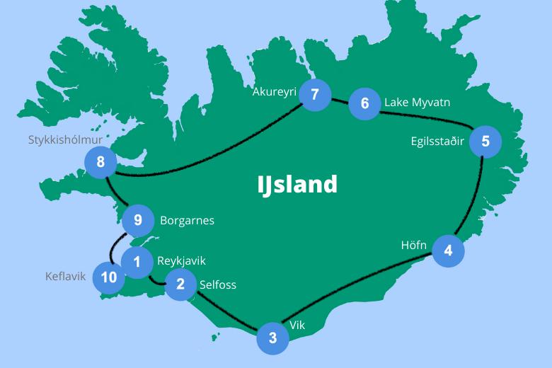 Rondreis Ijsland route