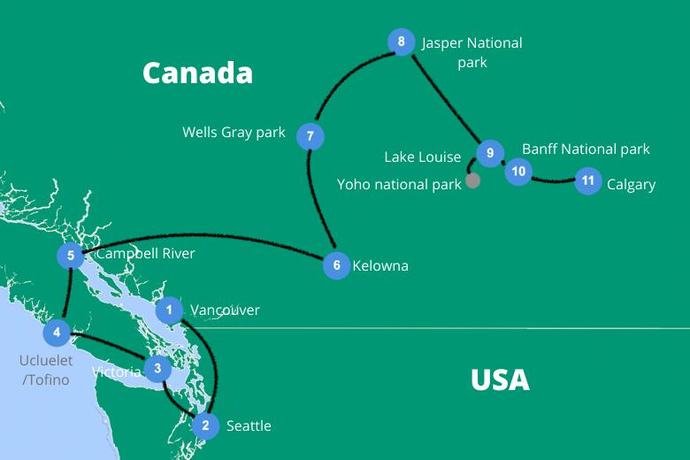 Rondreis canada route vancouver calgary