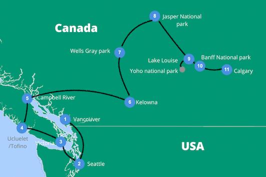 West canada rondreis auto