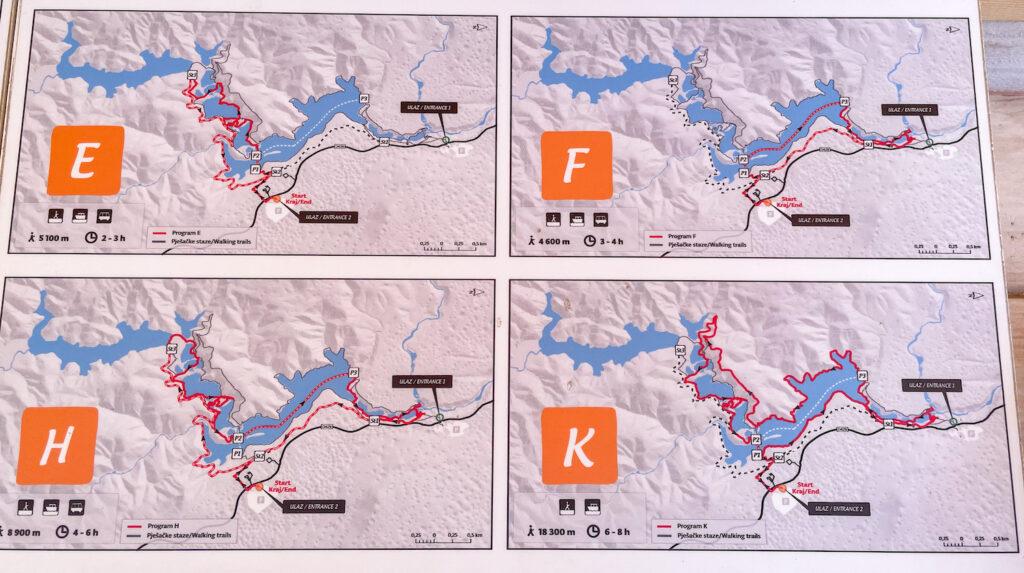 Kaart routes Plitvice watervallen