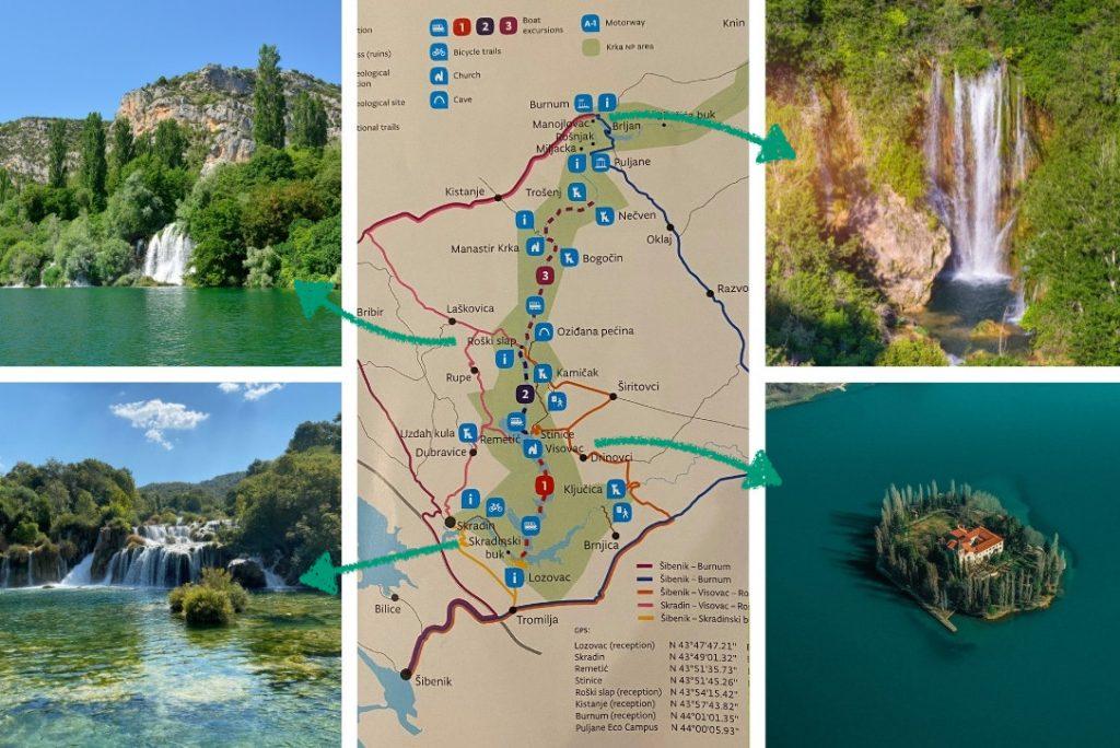 Krka nationaal park kaart